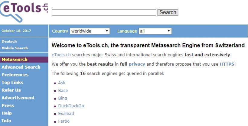 Безопасный поисковик eTools.ch